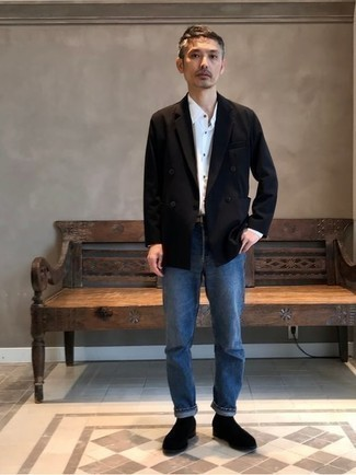 Black Double Breasted Blazer Outfits For Men: Channel your inner fashionisto and try teaming a black double breasted blazer with blue jeans. And if you want to instantly perk up your outfit with footwear, complement this look with a pair of black suede chelsea boots.