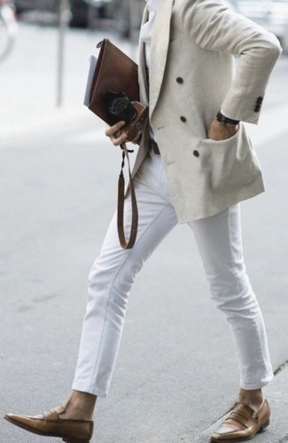 Bracelet Outfits For Men: For a casual look with a fashionable spin, dress in a beige double breasted blazer and a bracelet. Tone down the casualness of this outfit with a pair of tan leather loafers.