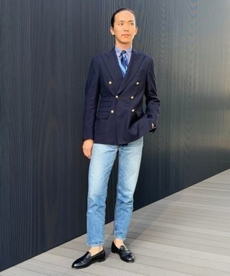 Light Blue Jeans Outfits For Men: Inject a dash of effortless sophistication into your current collection with a navy double breasted blazer and light blue jeans. Go the extra mile and shake up your ensemble by rocking black leather loafers.