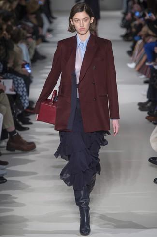 How to wear: burgundy double breasted blazer, light blue dress shirt, black ruffle chiffon midi skirt, black leather knee high boots