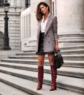 How to wear: grey double breasted blazer, white dress shirt, black leather mini skirt, burgundy leather knee high boots