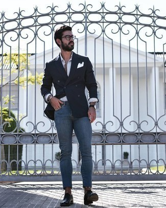 Blue Skinny Jeans Outfits For Men: This combination of a black double breasted blazer and blue skinny jeans is definitely impactful, but it's super easy to replicate. Dial up this outfit by wearing black leather oxford shoes.