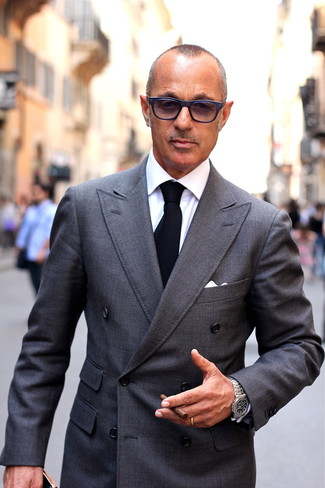 Try pairing a grey double breasted blazer with a white dress shirt if you're going for a clean, stylish outfit.