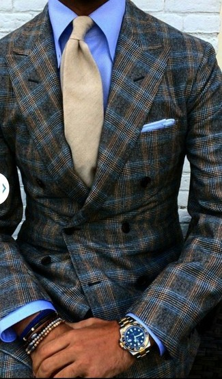 How to Wear a Blue Bracelet For Men: Opt for a dark brown plaid double breasted blazer and a blue bracelet for comfort dressing with a modern twist.
