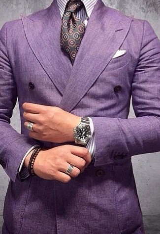 How to wear: purple double breasted blazer, purple vertical striped dress shirt, dark purple print silk tie, white pocket square
