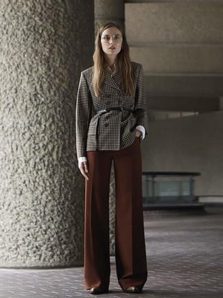 How to wear: dark brown check double breasted blazer, white dress shirt, brown wide leg pants, brown leather ankle boots