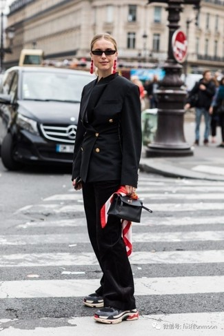 How to Wear Red Earrings: For relaxed dressing with a clear fashion twist, pair a black double breasted blazer with red earrings. Inject some stylish nonchalance into this look with the help of charcoal athletic shoes.