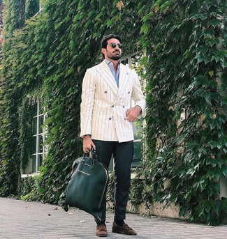 How to wear: beige vertical striped double breasted blazer, light blue long sleeve shirt, dark green chinos, brown suede tassel loafers