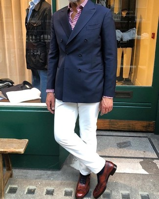 How to wear: navy double breasted blazer, red and white gingham long sleeve shirt, white chinos, brown leather oxford shoes
