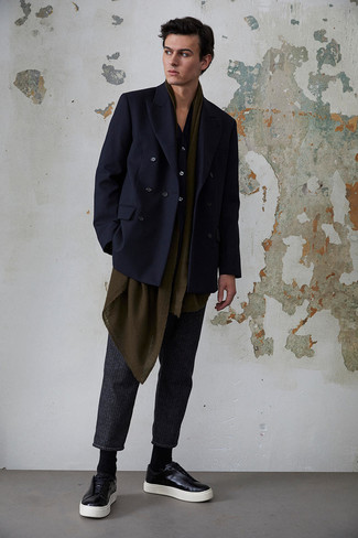 How to Wear a Navy Long Sleeve Shirt For Men: Look stylish yet off-duty in a navy long sleeve shirt and charcoal vertical striped chinos. Black leather low top sneakers tie the outfit together.