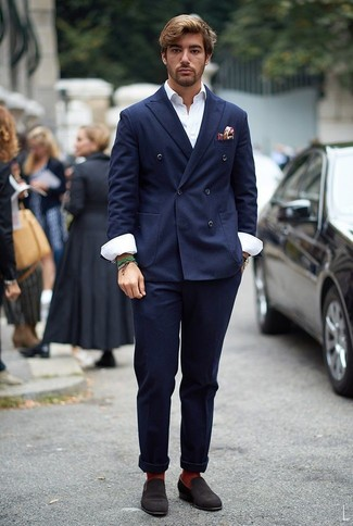 How to Wear a Jacket For Men: The perfect foundation for a knockout and seriously stylish outfit? A jacket with navy chinos. Bring a dressier twist to an otherwise utilitarian ensemble with a pair of dark brown suede loafers.