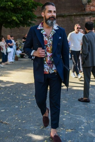 How to Wear a White and Navy Floral Long Sleeve Shirt For Men: Pair a white and navy floral long sleeve shirt with navy chinos for comfort dressing with a twist. Go off the beaten track and jazz up your ensemble by slipping into a pair of burgundy suede loafers.