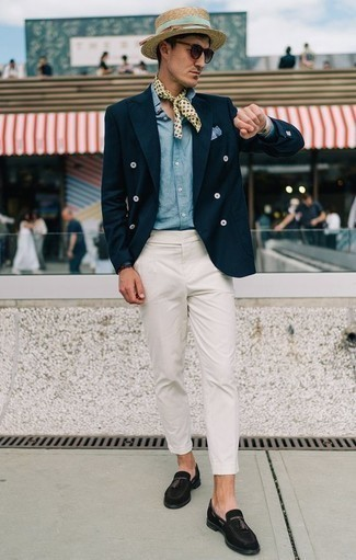 How to Wear a Tan Straw Hat For Men: Super stylish and comfortable, this laid-back combo of a navy double breasted blazer and a tan straw hat will provide you with variety. Let your styling savvy really shine by completing this look with black suede tassel loafers.