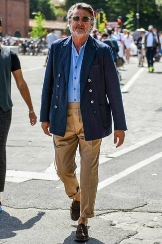 How to Wear Olive Sunglasses For Men: Such essentials as a navy double breasted blazer and olive sunglasses are the ideal way to introduce effortless cool into your off-duty fashion mix. Dark brown suede loafers will infuse a bit of polish into an otherwise everyday ensemble.