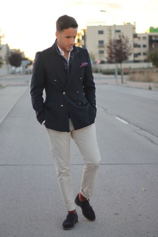 How to wear: charcoal double breasted blazer, white long sleeve shirt, white chinos, charcoal suede double monks