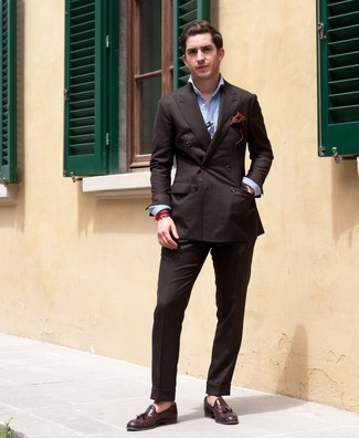 How to wear: dark brown double breasted blazer, light blue long sleeve shirt, dark brown dress pants, dark brown leather tassel loafers