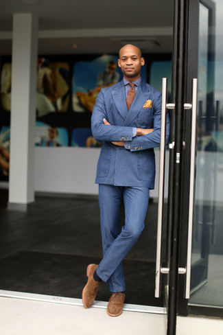 How to Wear an Orange Polka Dot Pocket Square: A blue double breasted blazer and an orange polka dot pocket square will introduce serious style into your current off-duty routine. A cool pair of tan suede oxford shoes is the most effective way to power up your look.