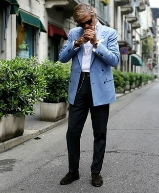 Light Blue Blazer Outfits For Men: Putting together a light blue blazer with black dress pants is a nice idea for a smart and refined outfit. Introduce dark brown suede monks to this ensemble for maximum impact.