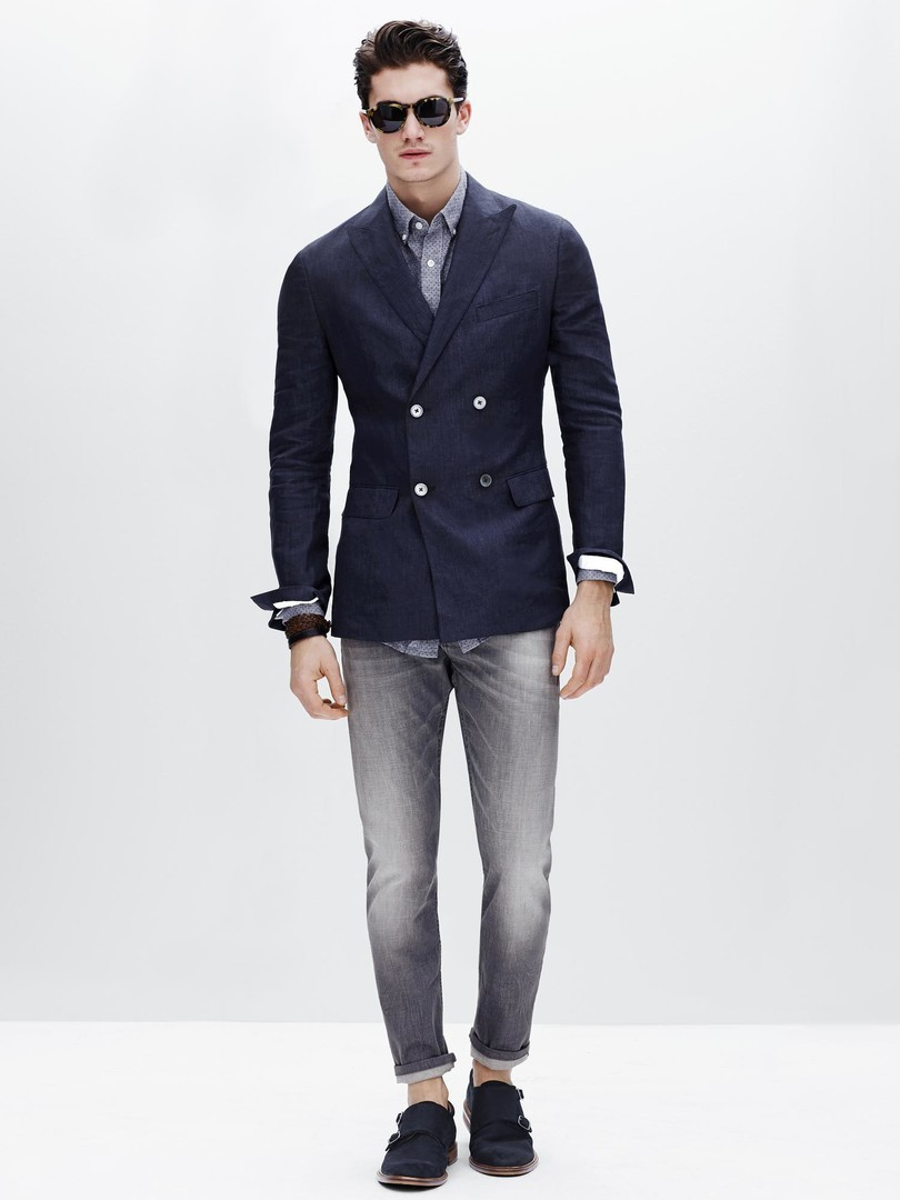 How To Wear a Blue Blazer With Grey Jeans | Men's Fashion