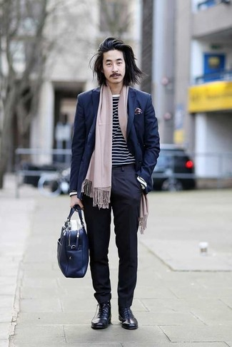 How to Wear a Navy Double Breasted Blazer For Men: Loving how this pairing of a navy double breasted blazer and navy dress pants immediately makes men look sharp and elegant. Complement your outfit with navy leather dress boots to infuse a sense of stylish casualness into this ensemble.