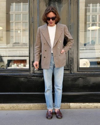 How to Wear a Tan Double Breasted Blazer For Men: For a casually smart outfit, pair a tan double breasted blazer with light blue jeans — these items go perfectly well together. A pair of burgundy leather loafers effortlessly dials up the style factor of this outfit.