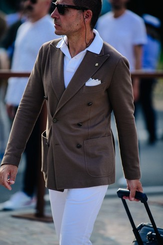 How to wear: dark brown double breasted blazer, white polo, white chinos, white pocket square