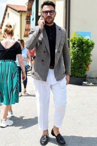Black Polo Dressy Outfits For Men: A black polo and white dress pants are among those sport-anywhere-anytime pieces that have become the crucial elements in our wardrobes. A pair of black leather tassel loafers effortlessly revs up the fashion factor of any look.
