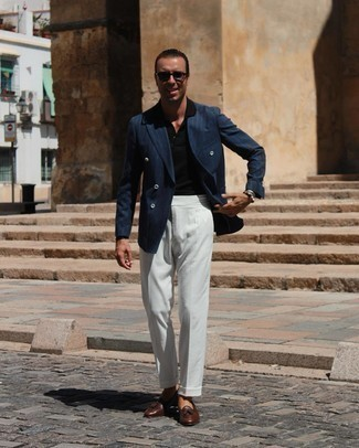 Black Polo Dressy Outfits For Men: When the dress code calls for a sophisticated yet cool ensemble, you can easily go for a black polo and white dress pants. Brown leather tassel loafers will give an elegant twist to your look.