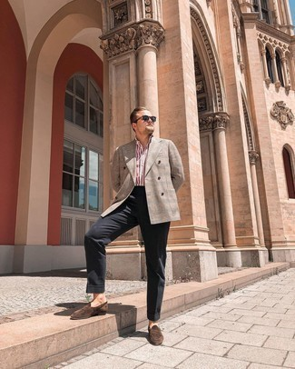 Navy Sunglasses Outfits For Men: If you prefer a more laid-back approach to dressing up, why not consider wearing a tan plaid double breasted blazer and navy sunglasses? Add dark brown suede loafers to the equation to mix things up.