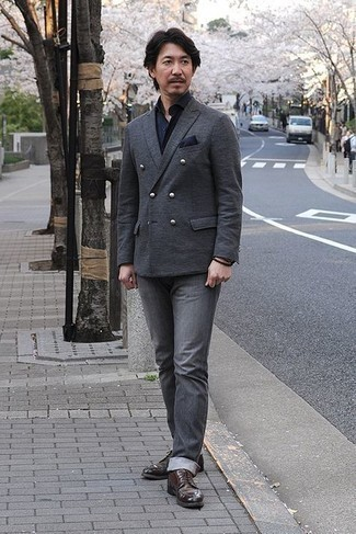 Charcoal Jeans Outfits For Men: Consider teaming a charcoal wool double breasted blazer with charcoal jeans for effortless sophistication with a manly take. Dark brown leather derby shoes are a surefire way to give a dose of class to this look.