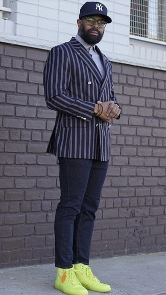 Navy Vertical Striped Double Breasted Blazer Outfits For Men: This is undeniable proof that a navy vertical striped double breasted blazer and navy jeans are awesome when worn together. Complement your outfit with green-yellow leather high top sneakers to keep the look fresh.