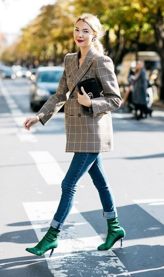 Consider pairing a brown plaid double breasted blazer with Nina Clip Crystal Earrings for a comfortable outfit that's also put together nicely. Up the cool of your ensemble by completing it with dark green elastic ankle boots. There's no better way to brighten up a dull fall day than a cool outfit like this one. (Ok, maybe there are a couple.)