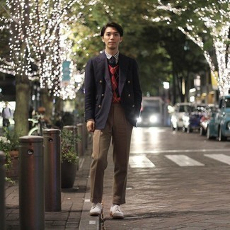 White Suede Derby Shoes Outfits: Reach for a black double breasted blazer and khaki dress pants if you're going for a proper, stylish ensemble. To bring out the fun side of you, introduce a pair of white suede derby shoes to the mix.