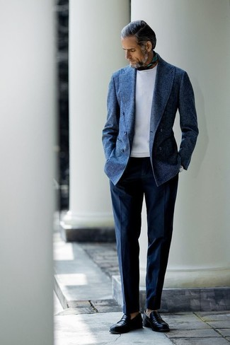 How to wear: navy wool double breasted blazer, white sweatshirt, navy dress pants, black leather loafers