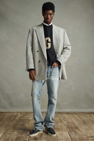Light Blue Ripped Jeans Outfits For Men: A grey double breasted blazer and light blue ripped jeans are the kind of a no-brainer off-duty combo that you so desperately need when you have zero time to put together an outfit. With shoes, you can follow a more elegant route with a pair of black leather loafers.