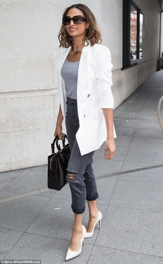 How to wear: white double breasted blazer, grey tank, charcoal ripped jeans, white leather pumps