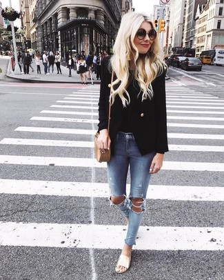 How to wear: black double breasted blazer, black tank, light blue ripped skinny jeans, gold leather flat sandals