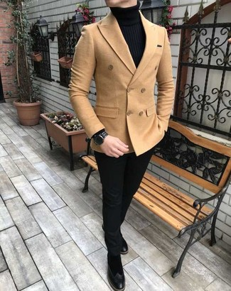 How to wear: tan double breasted blazer, black turtleneck, black chinos, black suede chelsea boots