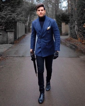 How to wear: blue wool double breasted blazer, navy turtleneck, black chinos, black leather chelsea boots