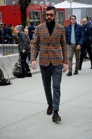 How to Wear Grey Sunglasses For Men: Rock a multi colored double breasted blazer with grey sunglasses to put together an interesting and current relaxed casual outfit. To give this look a smarter touch, why not complement your ensemble with a pair of dark brown fringe suede loafers?