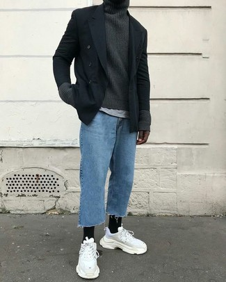 How to wear: black double breasted blazer, charcoal knit turtleneck, grey crew-neck t-shirt, blue jeans