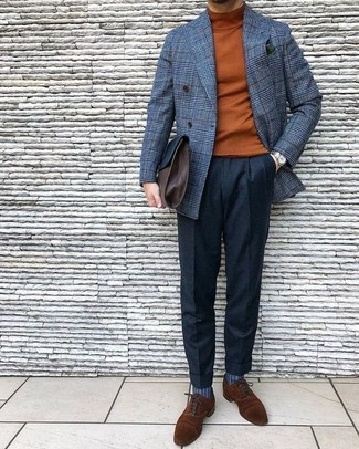 How to wear: grey check wool double breasted blazer, tobacco turtleneck, black wool dress pants, brown suede oxford shoes