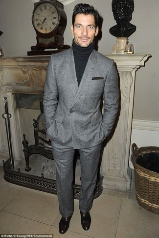 How to wear: grey wool double breasted blazer, black turtleneck, grey wool dress pants, black leather oxford shoes