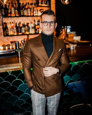 How to wear: brown double breasted blazer, black turtleneck, grey plaid dress pants, beige print pocket square