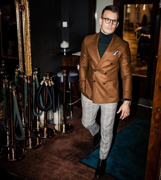 How to wear: brown double breasted blazer, dark green turtleneck, grey plaid dress pants, black leather chelsea boots