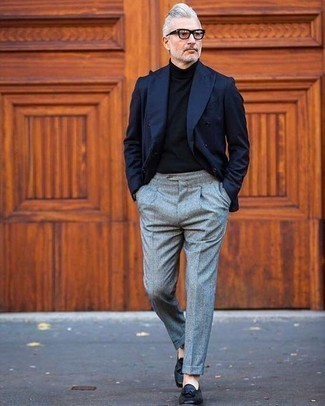 How to Wear Black Leather Tassel Loafers: A navy double breasted blazer and grey wool dress pants are a great combination that will get you a ton of attention. Complete this ensemble with a pair of black leather tassel loafers to keep the look fresh.