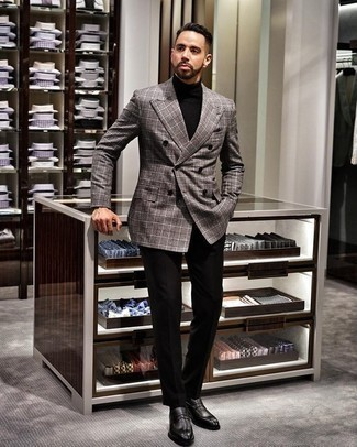 How to Wear Black Dress Pants For Men: A grey plaid double breasted blazer and black dress pants are essential in any modern gent's closet. And if you want to instantly play down this ensemble with a pair of shoes, add a pair of black leather loafers to the mix.