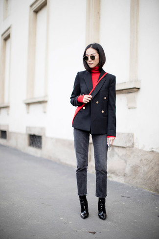 How to wear: black double breasted blazer, red turtleneck, charcoal jeans, black leather ankle boots