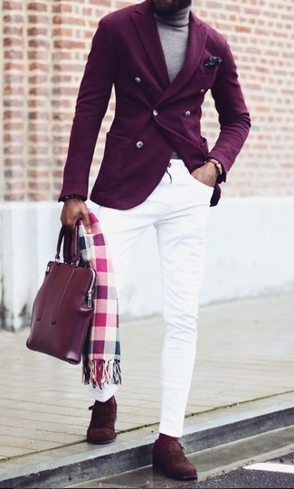 How to Wear Purple Socks For Men: Reach for a dark purple double breasted blazer and purple socks for both stylish and easy-to-create ensemble. If you want to break out of the mold a little, complement this getup with dark brown suede monks.