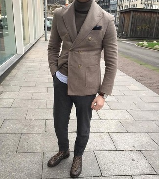 How to wear: brown wool double breasted blazer, dark brown turtleneck, light blue vertical striped chambray long sleeve shirt, charcoal wool dress pants